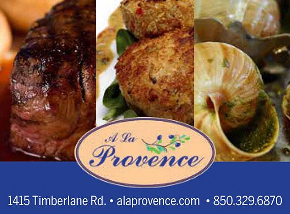 A La Provence: 1415 Timberlane Rd.: alaprovence.com: 850-329-6870