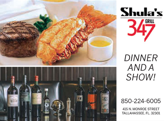 Shula's 347 Grill: Dinner and a Show!: 850-224-6005: 415 N. Monroe Street, Tallahassee, FL 32301